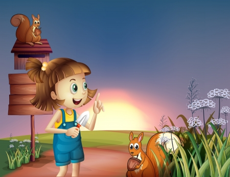Illustration of a girl with a shovel standing near the wooden signboard Vector
