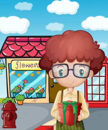 Illustration of a boy holding a gift in front of the flower shop Vector