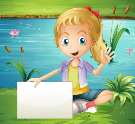 Illustration of a girl at the pond holding an empty signboard Vector