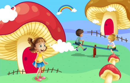 Illustration of the kids playing near the giant mushroom houses Vector