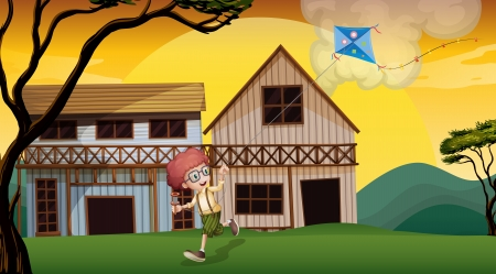 Illustration of a boy playing with his kite in front of the wooden barnhouses Vector