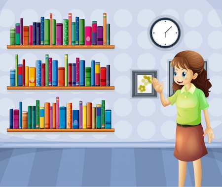 Illustration of a female librarian inside the library Vector
