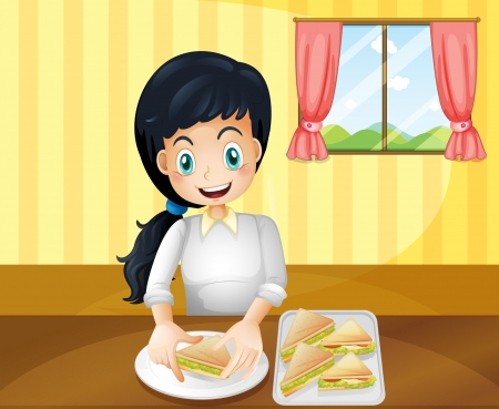 pink hills: Illustration of a happy woman preparing sandwiches Illustration