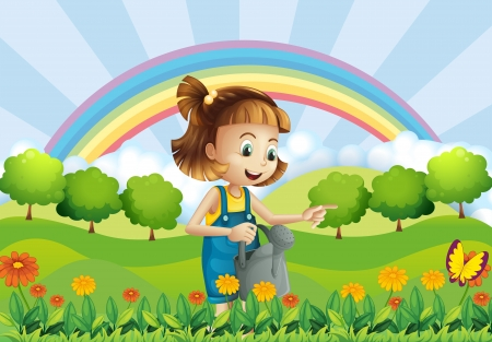 sprinkler: Illustration of a young girl holding a sprinkler in the garden