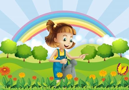 regar las plantas: Ilustración de una niña con una regadera en el jardín