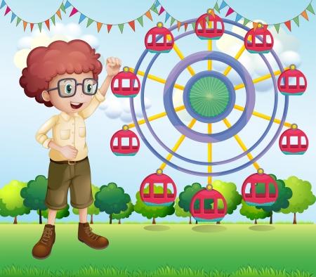 flaglets: Illustration of a happy teenager near the ferris wheel