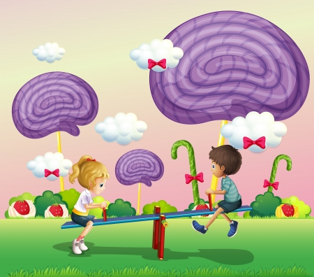 lavender bushes: Illustration of the kids playing at the park with giant candies Illustration