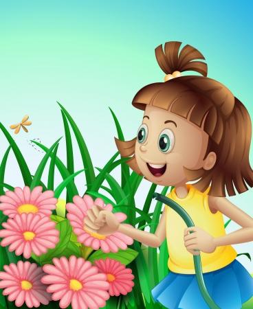 mangera: Ilustración de una niña con una manguera en el jardín