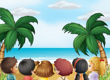 beach boy: Illustration of a group of kids at the beach