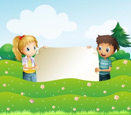 Ilustración de los dos adolescentes que sostienen una amplia señalización vacía