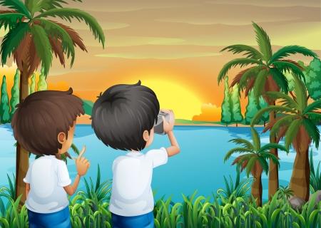 강둑: 강둑에서 카메라와 함께 두 아이의 그림 일러스트