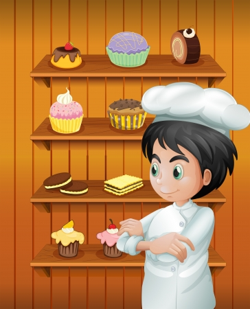 goodies: Illustration of a chef in front of the baked goodies
