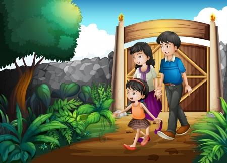 back yard: Illustration of a family inside the gate