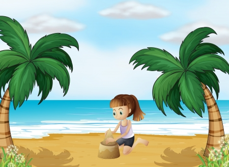 Illustration of a young girl forming a sand castle at the beach Vector
