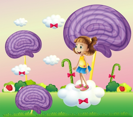 Illustration of a girl above the cloud surrounded with spiral candies Vector