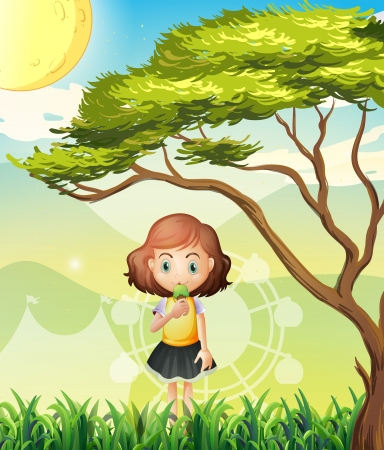 Illustration of a small girl near the big tree Stock Vector - 21426311