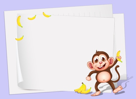 banana sheet: Illustration of the empty papers with a monkey and bananas
