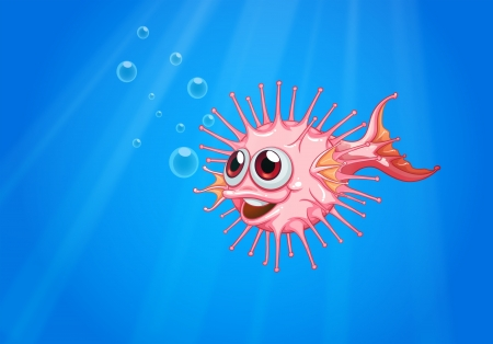 Illustration of a pink puffer fish in the ocean Stock Vector - 21420385