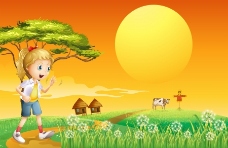 Illustration of a girl going to the farm Vector