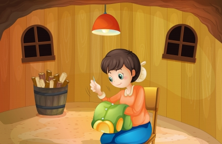 cartoon clothes: Illustration of a woman sewing inside a wooden house