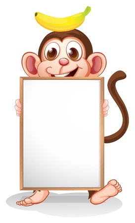 Illustration of a monkey with a banana above his head holding an empty whiteboard on a white background Illustration