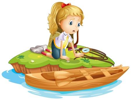 barco caricatura: Ilustraci�n de una ni�a triste atrapado en una isla sobre un fondo blanco