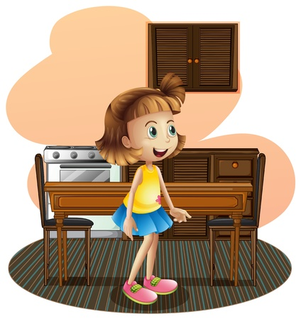 gas stove: Illustration of a little girl in the kitchen wearing a blue skirt on a white background Illustration