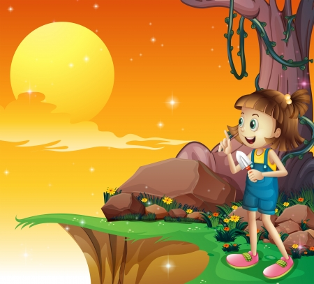 endpoint: Illustration of a young girl near the cliff holding a small shovel Illustration