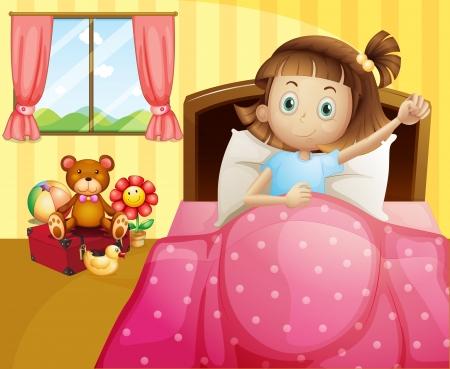 lying on bed: Ilustraci�n de una ni�a acostada en su cama con una manta de color rosa