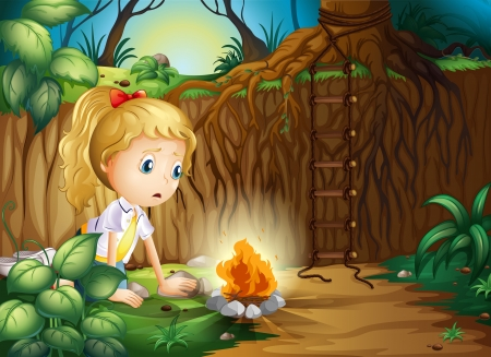 Illustration of a sad girl making a campfire Vector