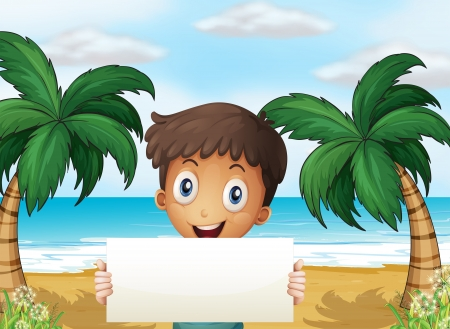 beach boy: Illustration of a boy at the beach holding an empty signage with a smile
