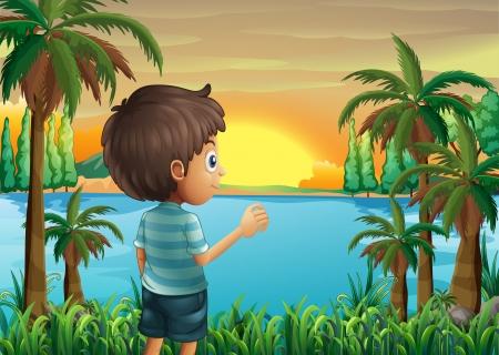 강둑: 강둑에서 석양을 바라 보는 소년의 그림