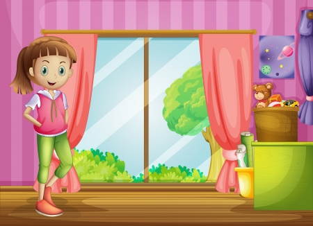 Illustration of a girl inside the house with her toys Vector
