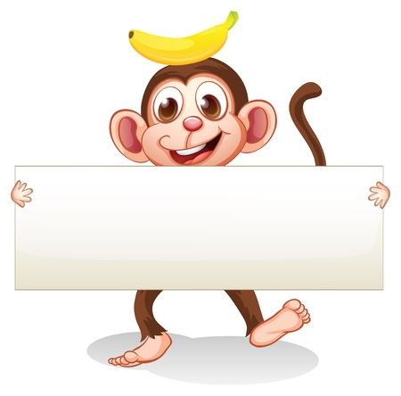 banana: illustration of an empty signboard with a monkey at the back on a white background