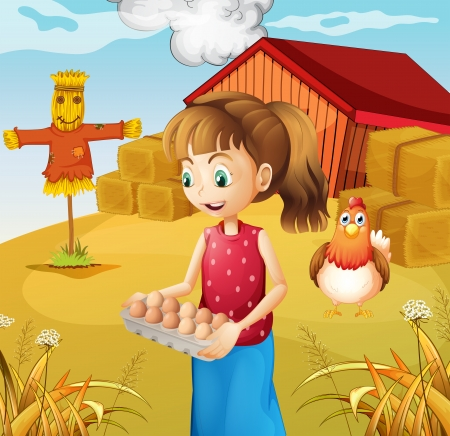 Illustration of a woman harvesting eggs Vector