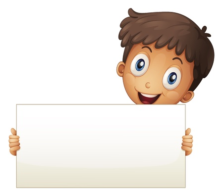 child holding sign: Illustration of a smiling young boy holding an empty signage on a white background