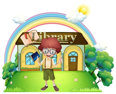 Illustration of a boy in front of the library in the hilltop on a white background Vector