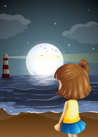 Illustration of a small girl at the beach watching the lighthouse Vector