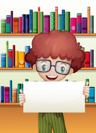 Illustration of a boy holding an empty cardboard standing in front of the bookshelves Stock Vector - 21426365