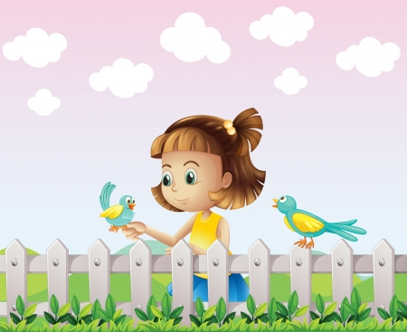 hillside: Illustration of a young girl playing with the birds near the fence
