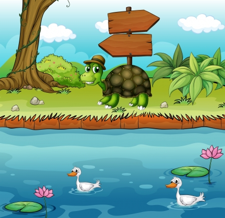 riverbank: Illustration of a turtle near the wooden arrowboards at the riverbank