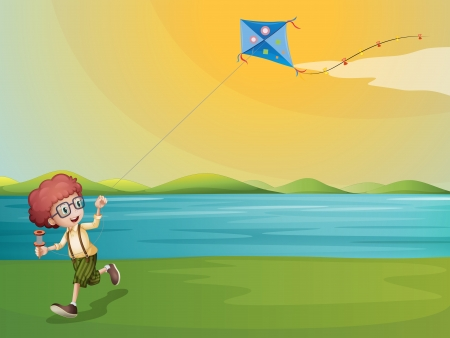 Illustration of a young boy playing with his kite at the riverbank Vector