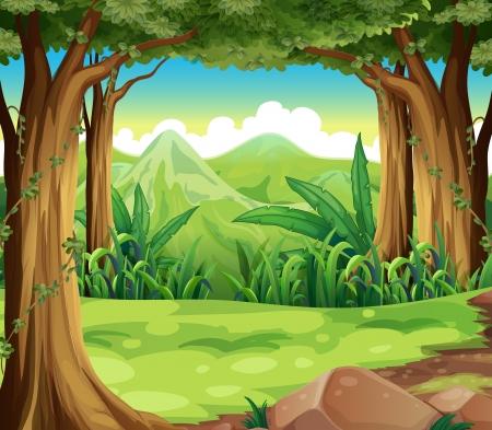 Illustration von einem grünen Wald in den hohen Bergen