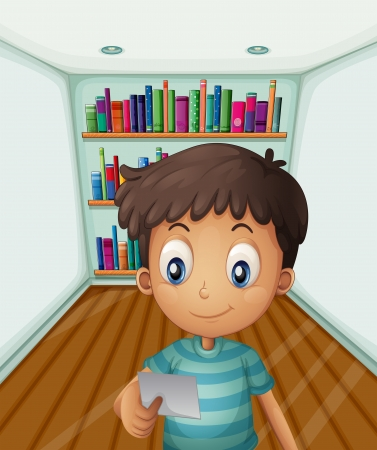 home school: Illustration of a young boy in front of the bookshelves