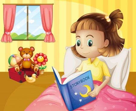 Illustration of a small girl reading a storybook inside her room Vector