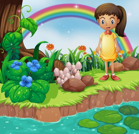 강둑: Illustration of a small girl at the riverbank with mushrooms