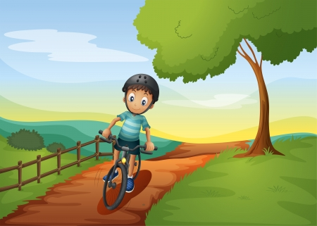 Illustratin of a boy going to the farm with his bike Vector