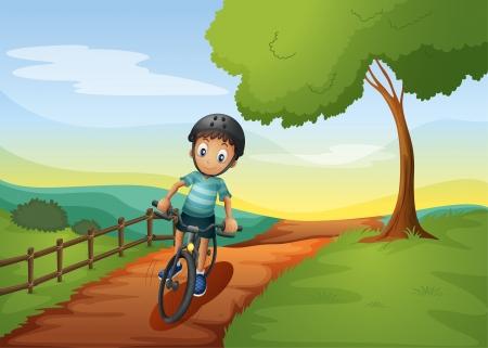 illustratin: Illustratin of a boy going to the farm with his bike