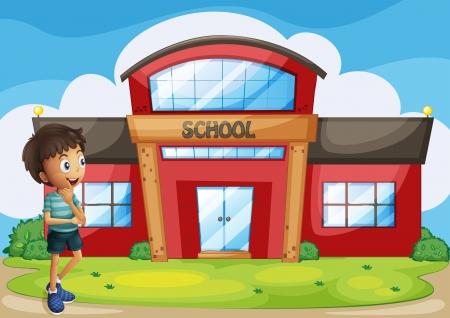 escuela caricatura: Ilustración de un niño en frente del edificio de la escuela
