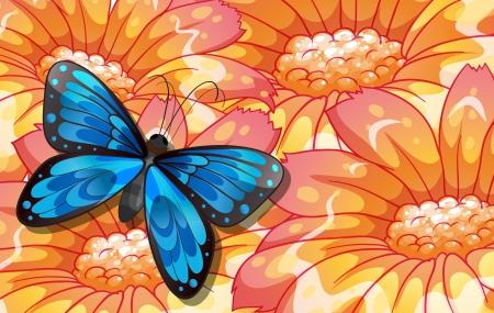 mariposas amarillas: Ilustración de una gran mariposa sobre las flores gigantes